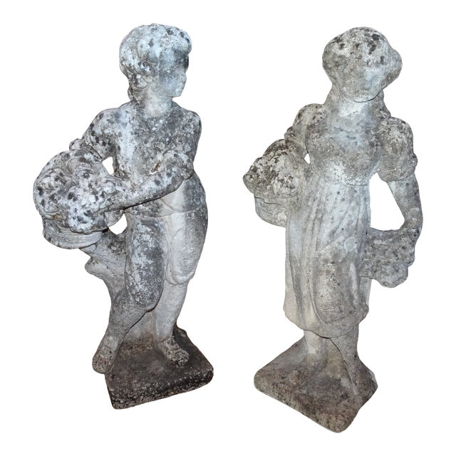 Pair of Vintage French Stone Statues For Sale