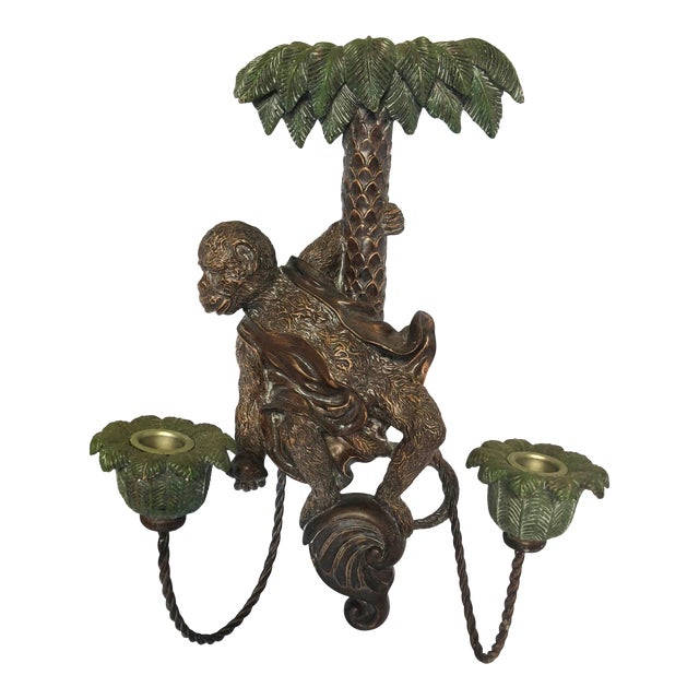 Single Monkey Figure Wall Candle Sconce For Sale