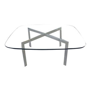 1970s Modern Chrome and Glass Coffee and Side Table Set - 3 Pieces For Sale