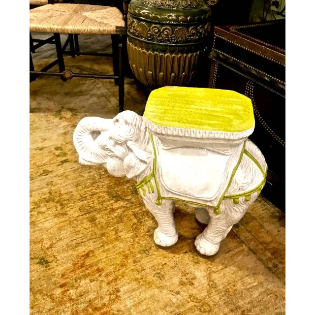 Mid 20th Century Pair Italian Ceramic Chinoiserie Elephant Garden Stools or Tables For Sale - Image 5 of 9