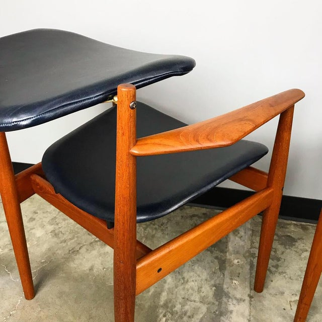 Rare Set of 6 Dining Chairs by Arne Vodder With New Upholstery For Sale - Image 10 of 13