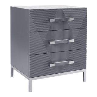 Pasargad's Firenze Side Table With 3 Drawers, Grey