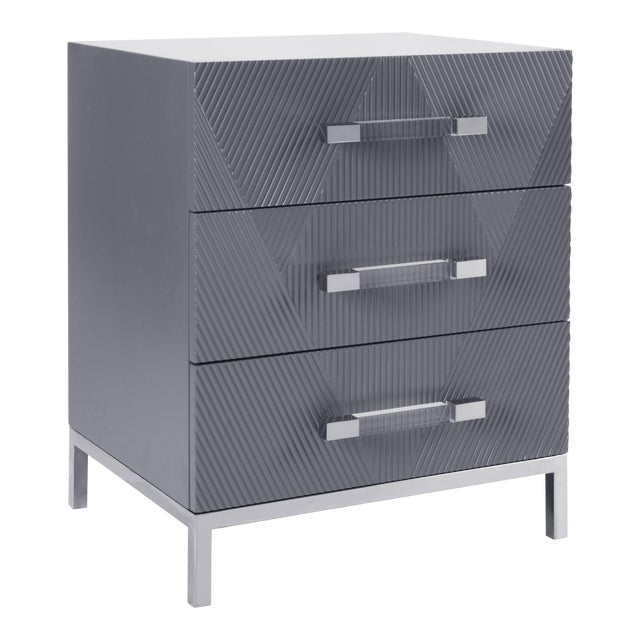 Pasargad's Firenze Side Table With 3 Drawers, Grey For Sale