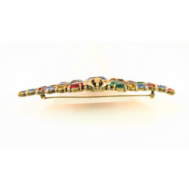 Czech Art Deco Jewel-Tone Bohemian Crystal Brooch 1920s For Sale - Image 11 of 12