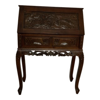 Traditional Hand-Carved Secretary Desk For Sale