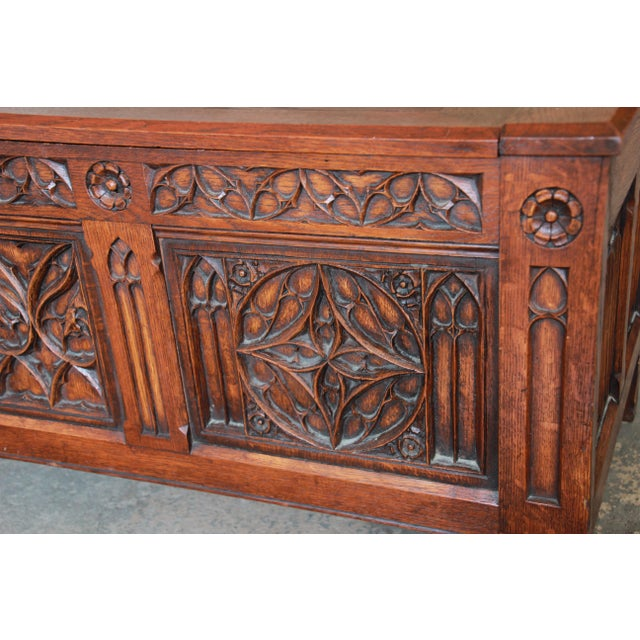 Antique Belgian Gothic Revival Carved Oak Blanket Chest, Circa 1900 For Sale - Image 10 of 13