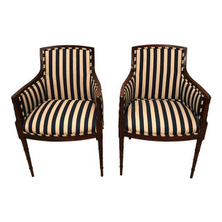 Blue and Cream Stripped Fabric With Faux Bamboo Legs Classic Arm Chairs - a Pair For Sale