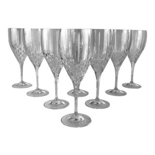 Vintage Royal Doulton Clear Cut Crystal Wine Glass Stems Stemware Marked - Set of 8 For Sale