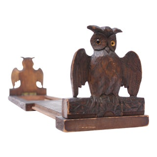 Early 20th Century Carved Owl Expandable Bookrack / Bookends For Sale