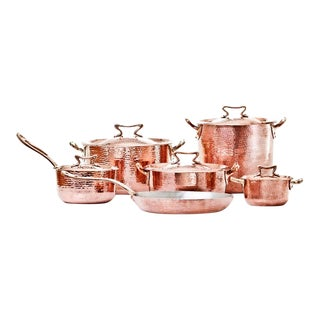 Amoretti Brothers Handmade Copper Cookware with Standard Lid - Set of 11 For Sale
