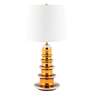 Gold Mercury Glass Totem Table Lamp by Johansfors Glasbruk of Sweden, Circa 1960s For Sale