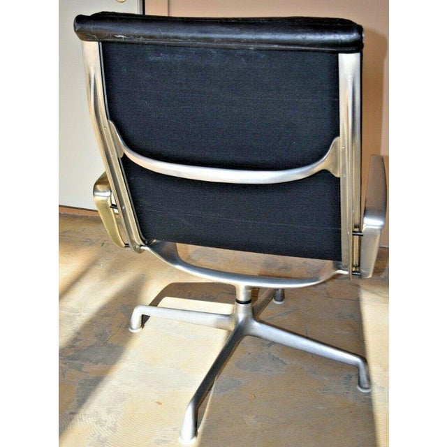 Black Mid Century Eames Herman Miller Lounge Chairs Black Leather- A Pair For Sale - Image 8 of 13