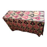 Image of Pink & Indigo Ikat Skirted Console Table For Sale