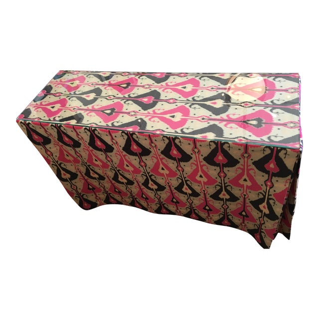 Pink & Indigo Ikat Skirted Console Table For Sale