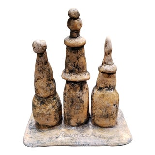 Mid 20th Century Abstract Figural Group Clay Sculpture Signed Reinecke For Sale