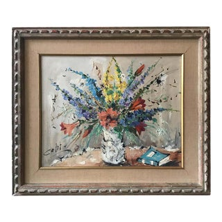 1950s Floral Painting Oil On Canvas For Sale