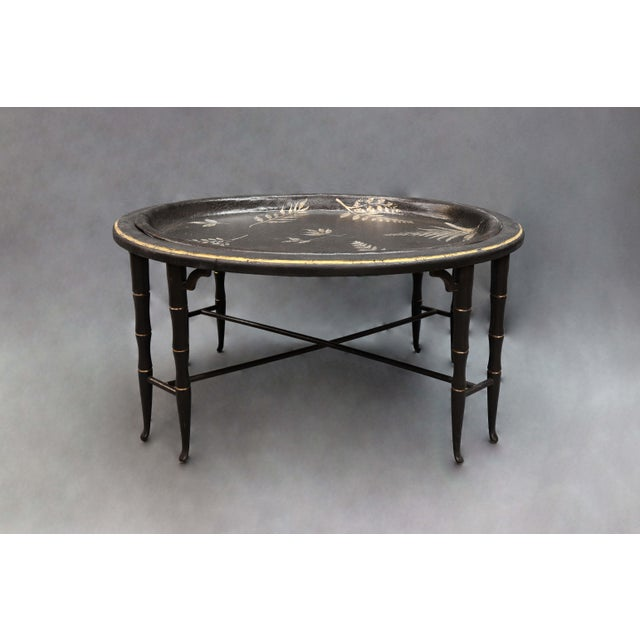 Asian Fern Leave Painted Design Faux Bamboo Legged Tray Table For Sale - Image 3 of 7