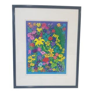 1990s Artist Signed Floral Print, Framed For Sale