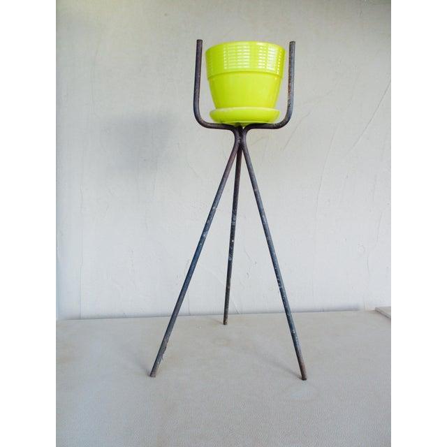 Mid-Century Yellow Ceramic Planter Pot & Iron Tripod Stand - Image 4 of 6
