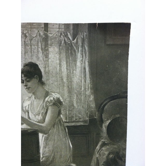 """Vintage Figurative Black & White Print """"The Old-Old Song"""" by Percy Moran For Sale - Image 4 of 6"""