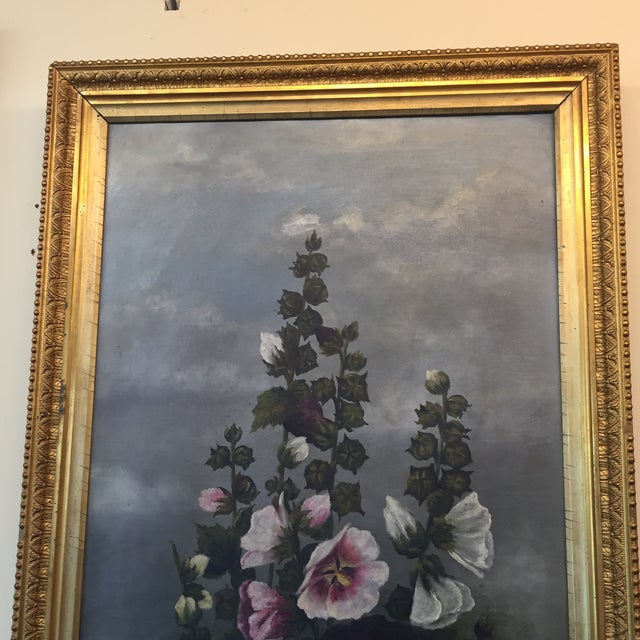 Late 19th Century Hollyhock Painting For Sale - Image 5 of 5