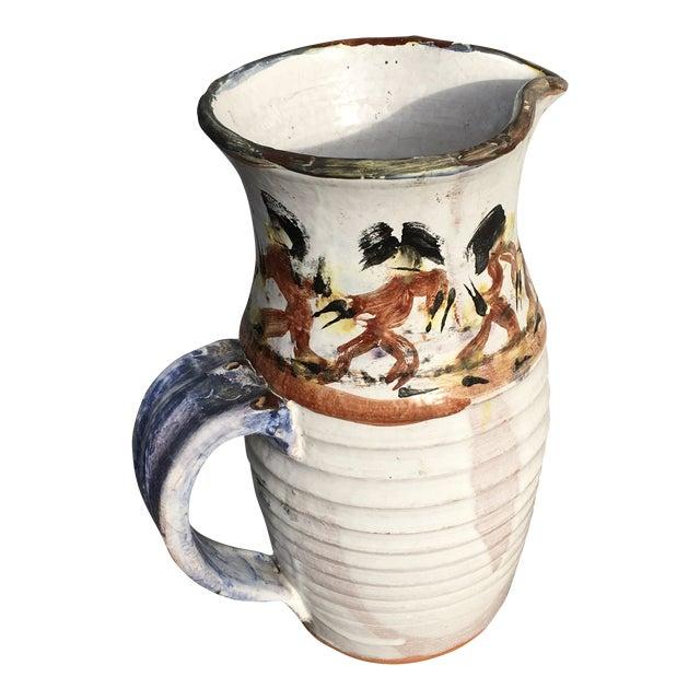 Folk Art White Pottery Pitcher For Sale