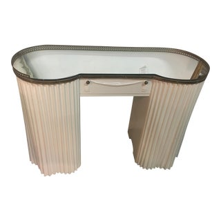 Art Deco White Mirror Top Vanity With Brass Hardware For Sale