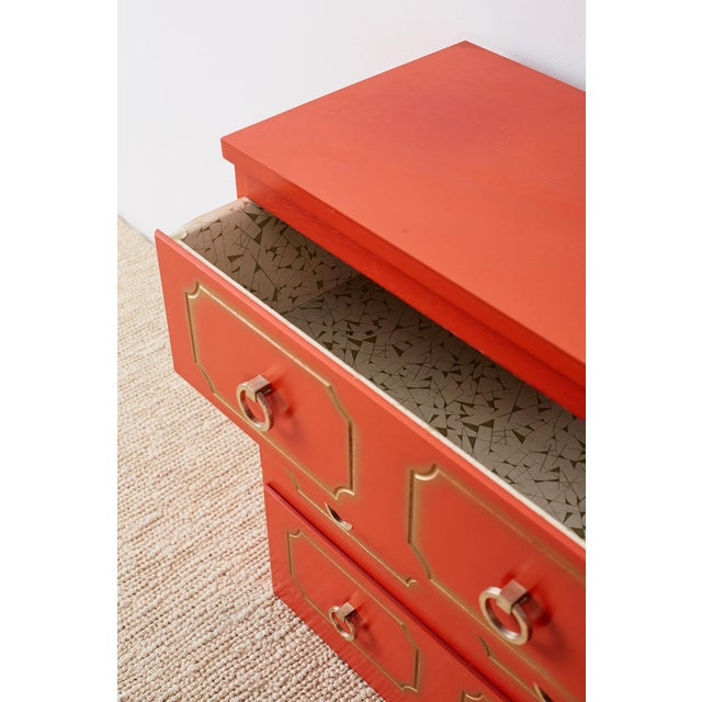 Metal Dorothy Draper Style Coral Red Commode or Chest For Sale - Image 7 of 13