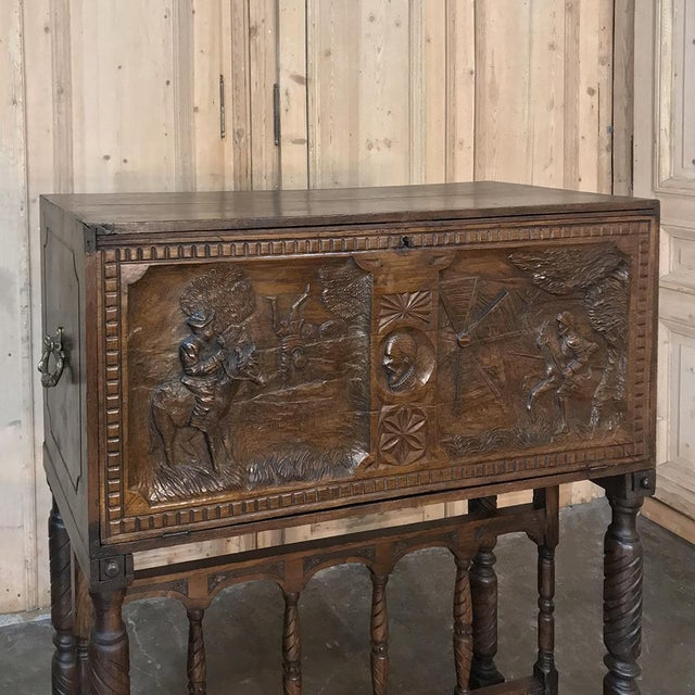 19th Century Spanish Raised Cabinet Carved With Don Quixote For Sale - Image 10 of 13
