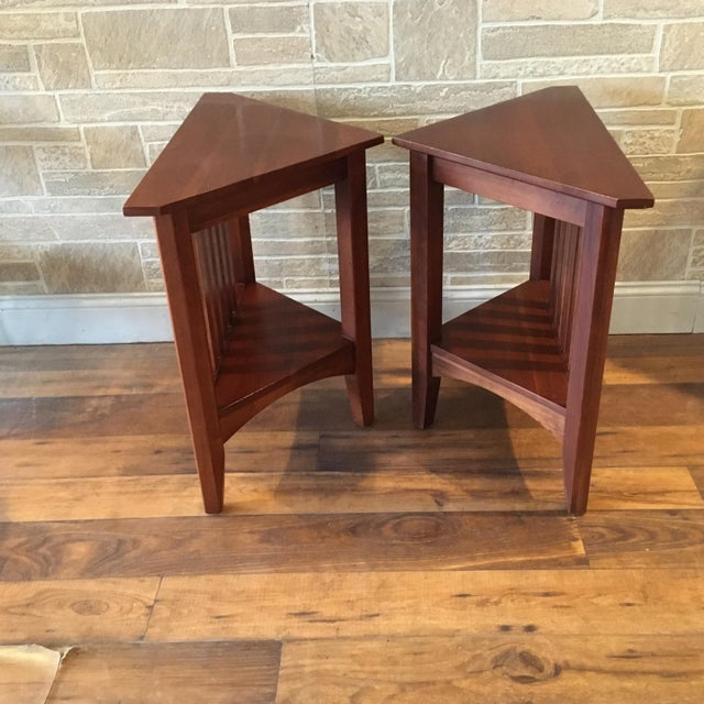 Late 20th Century Ethan Allen Solid Cherry Triangle Corner Side Table For Sale - Image 12 of 13
