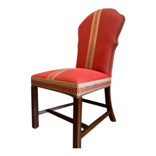 Hickory Chair Red Fabric Wood Upholstered Side Chair For Sale