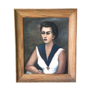 1940s Portrait of a Woman, Oil on Canvas