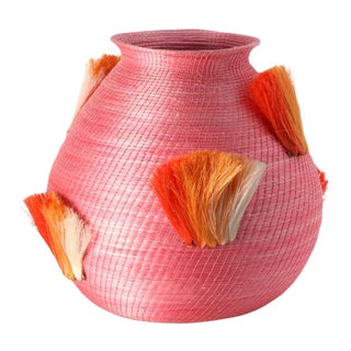 Fanned Out Large Bulbous Vase Peony & Tangerine Fans For Sale