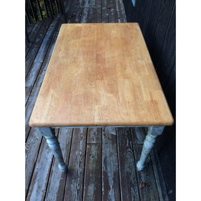 Shabby Chic Farm Table - Oak Top For Sale - Image 4 of 11