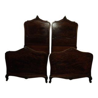 Antique French Inlaid Beds, 1910-1918 - A Pair