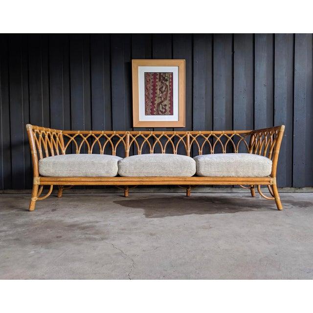 1980s Contemporary McGuire Bamboo Rattan Sofa For Sale In Dallas - Image 6 of 11