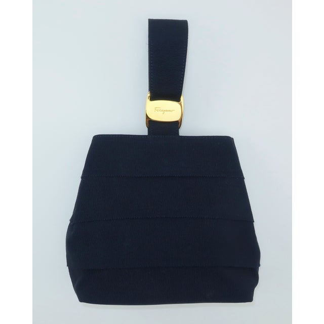 Ferragamo Blue Grosgrain Tiered Wristlet Handbag For Sale - Image 12 of 13