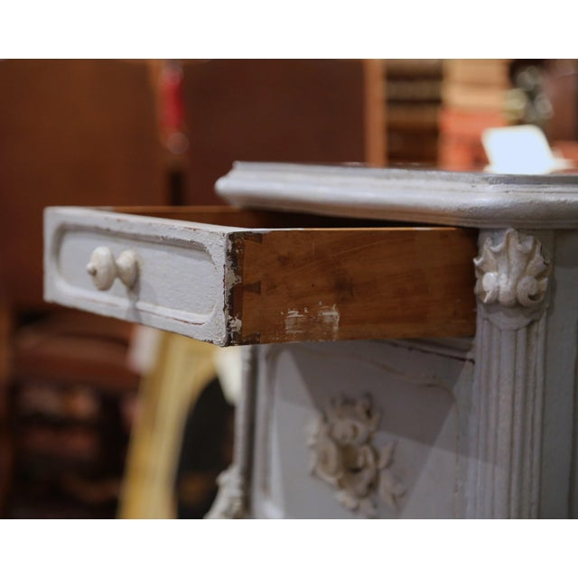 Pair of 19th Century French Louis XV Carved Painted Nightstands With Marble Top For Sale - Image 9 of 12