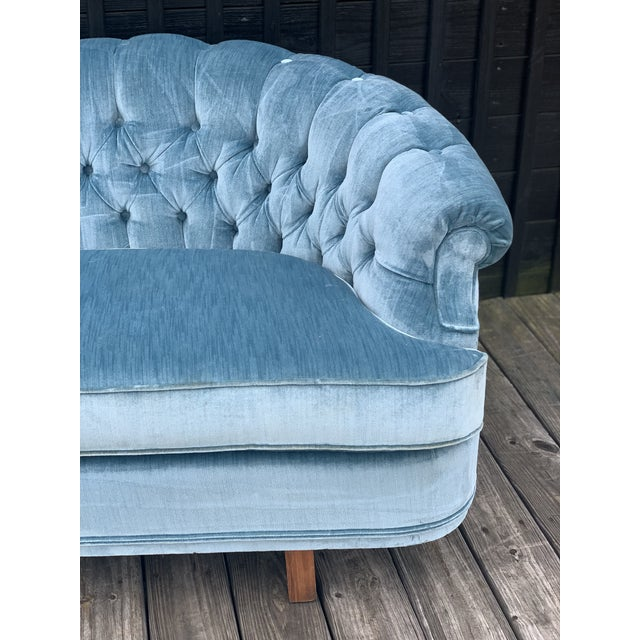 White Mid Century Modern Sky Tufted Blue Chesterfield For Sale - Image 8 of 13