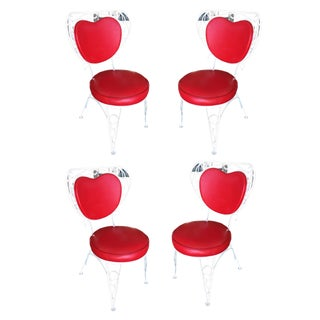 Custom Made Iron & Steel Rebar Heart Patio Lounge Chairs - Set of 4 For Sale