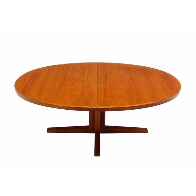Danish Mid Century Modern Teak Dining Table with Two Leaves For Sale - Image 4 of 5