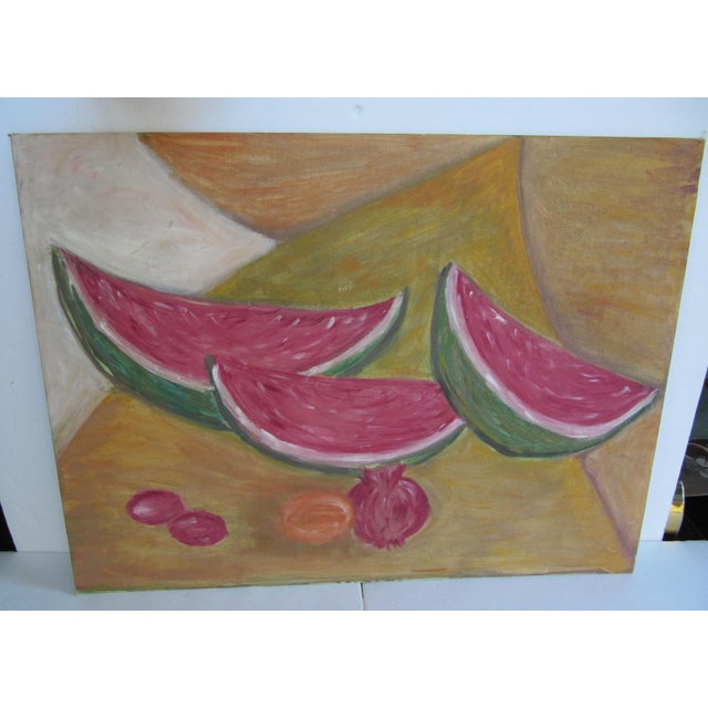 Vintage mid-century acrylic still life painting of watermelon slices, pomegranate and red plums.