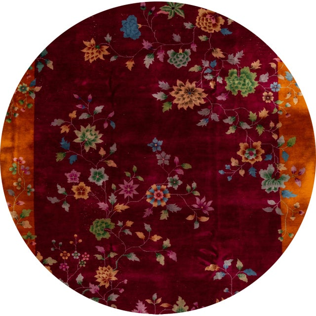 Beautiful antique Chinese Art Deco rug, hand knotted wool with a red field, orangeframe in a subtle all-over Classic...