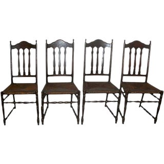 1900s Vintage Bannister Back Antique Dinning Chairs With Rush Seats - Set of 4 For Sale