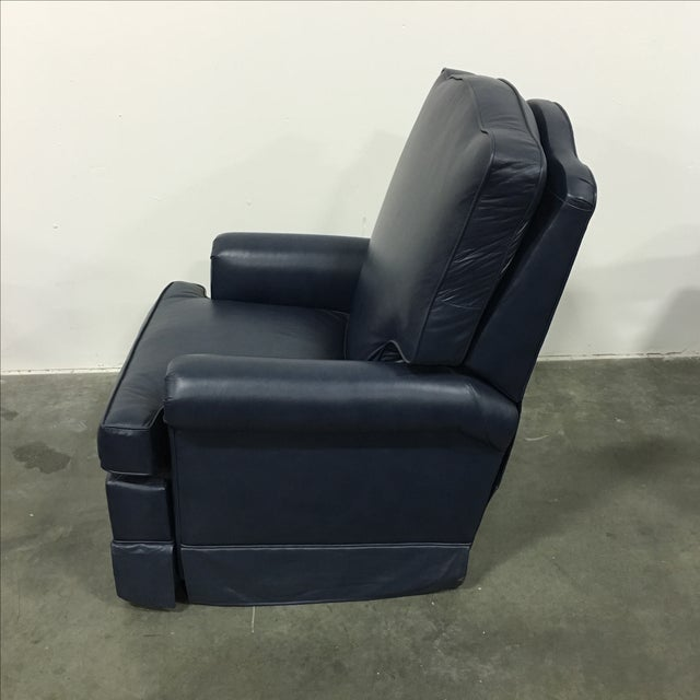 Navy Blue Swivel Recliner by Leathercraft - Image 4 of 10