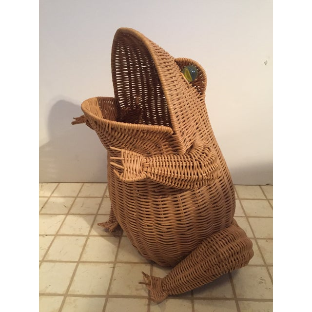 Vintage Wicker Frog Basket For Sale - Image 4 of 4
