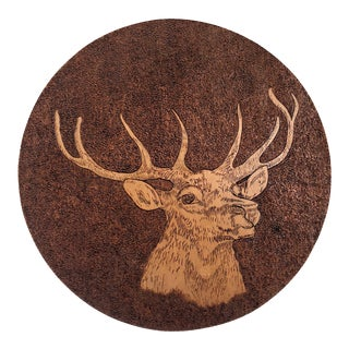 Vintage Rustic Hand-Etched Wood Deer Wall Plaque For Sale