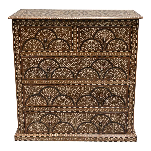 Wood and Bone Inlay Chest of Drawers For Sale
