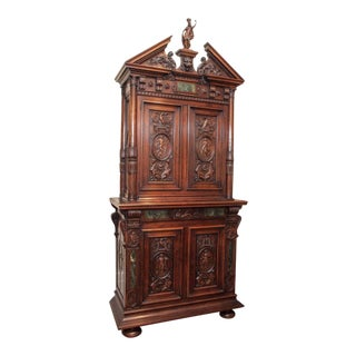 Antique 19th Century Carved Walnut Francois I Cabinet For Sale