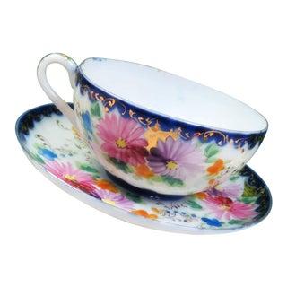 Antique Hand Painted Tea Cup & Saucer Set